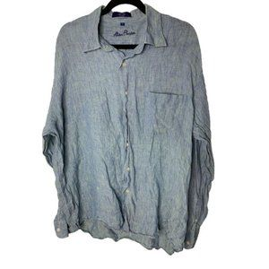 Allan Flusser Button Up Linen Shirt Men's XL